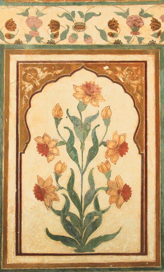 Pitture di parete sulla fortificazione di Nahargarh fotografia stock