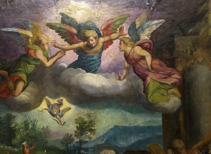 Pitture nella chiesa di San Lorenzo Maggiore, Napoli, Italia fotografie stock
