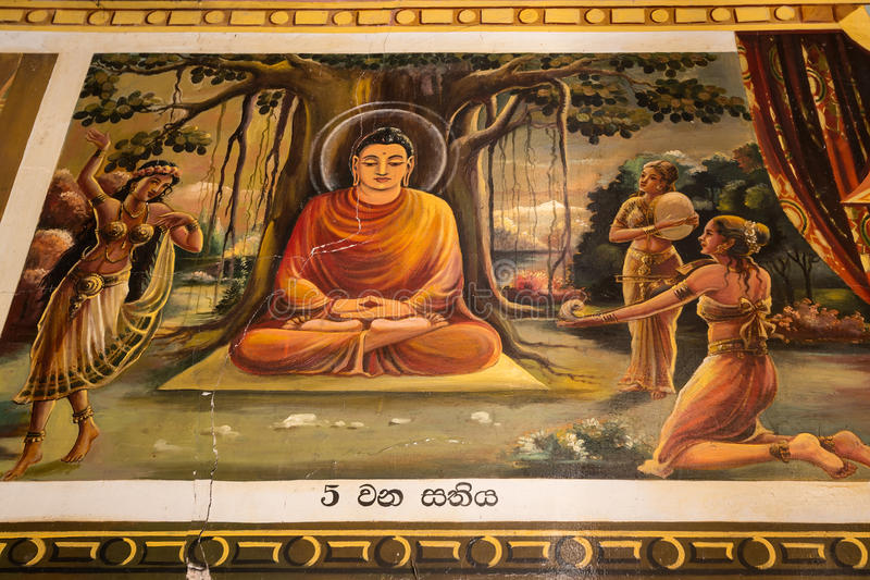 Pitture religiose dentro del tempio buddista nella lan di Mirissa Sri fotografia stock libera da diritti