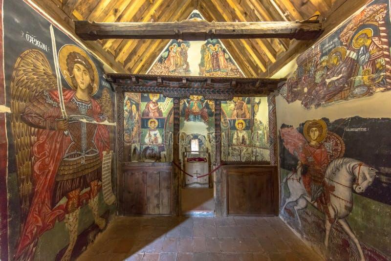 Pitture storiche dell'icona nell'interno della chiesa dell'arcangelo Micha immagine stock