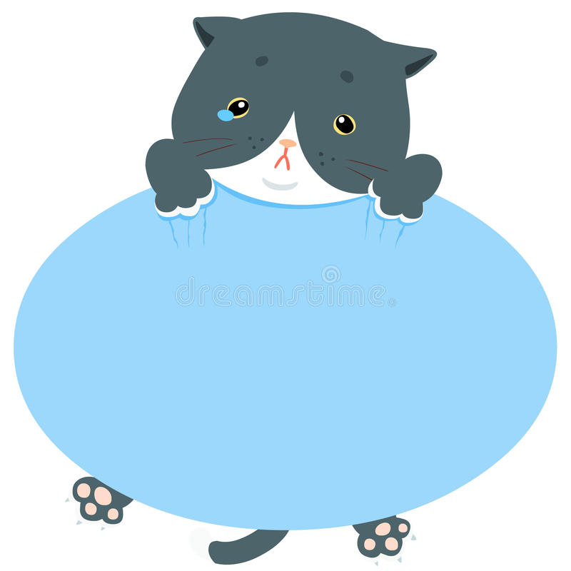 Free Pity Blue Cat Hold Empty Board Royalty Free Stock Photo - 75517175