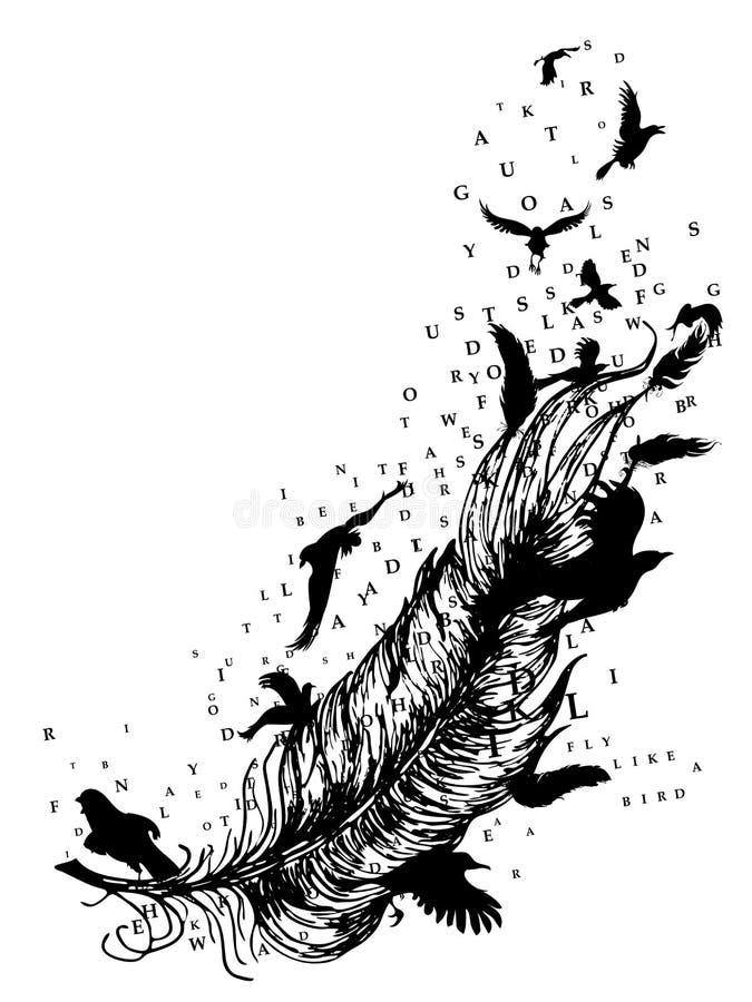 Piuma con gli uccelli e le lettere illustrazione di stock
