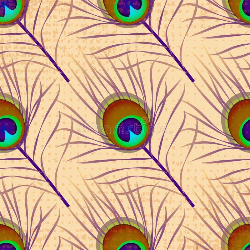 Piuma del pavone Struttura di Grunge Reticolo senza giunte illustrazione di stock