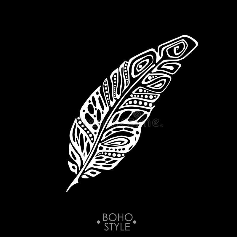 Piuma di Boho dell'indiano disegnata a mano immagini stock