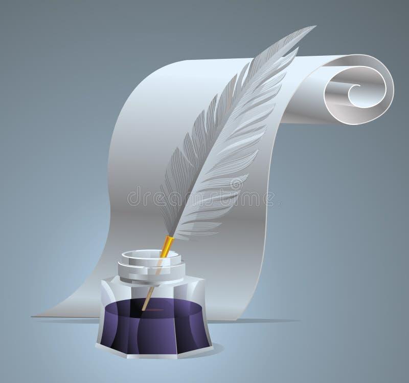 Piuma di penna dell'inchiostro fotografia stock libera da diritti