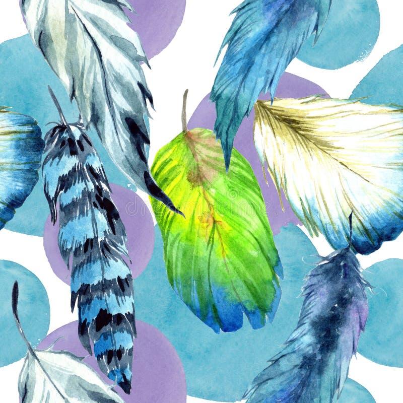 Piuma di uccello dell'acquerello dall'ala Modello senza cuciture del fondo Struttura della stampa della carta da parati del tessu illustrazione vettoriale