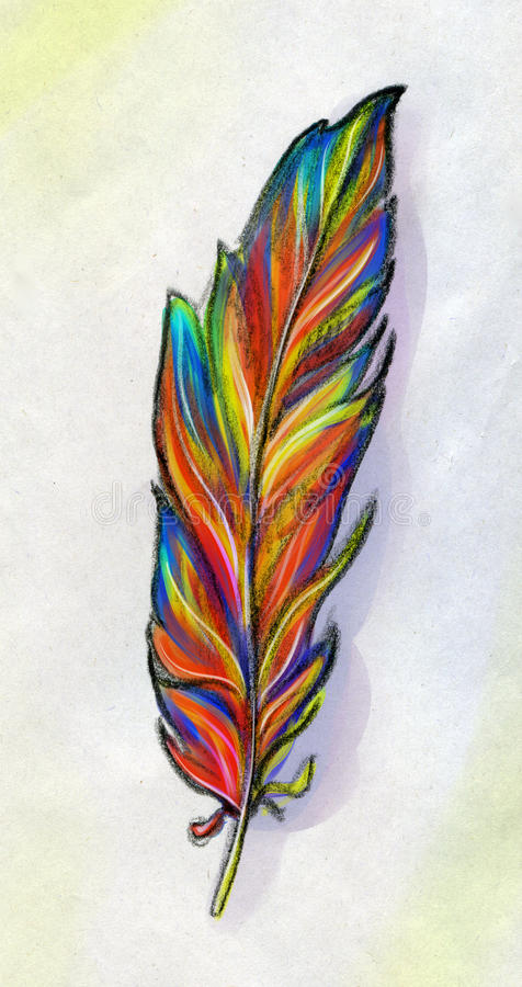 Piuma di un uccello di fantasia illustrazione vettoriale