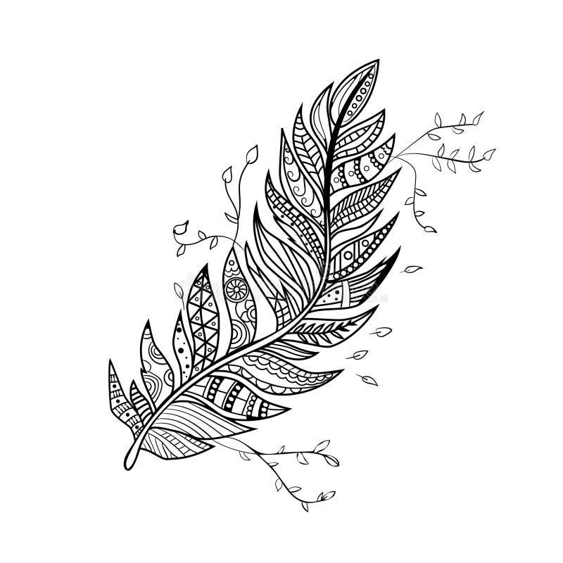 Piuma disegnata a mano del pavone Piuma etnica d'annata di vettore Piume di Zentangle Piuma stilizzata su un fondo bianco illustrazione di stock