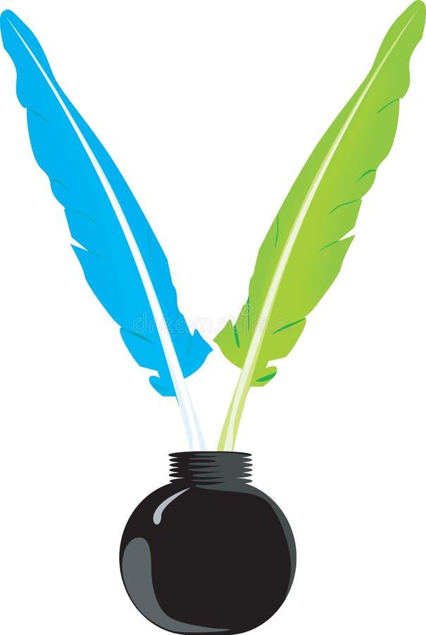 Piuma e bottiglia illustrazione vettoriale