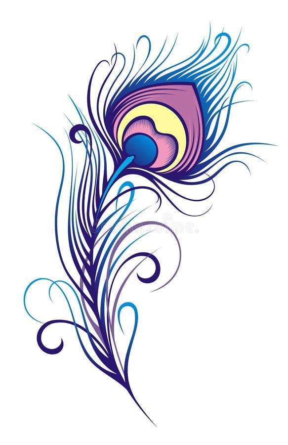 Piuma stilizzata del pavone illustrazione vettoriale