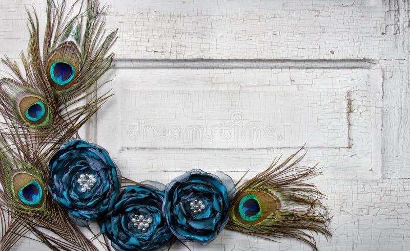 Piume e fiori del pavone sul portello dell'annata immagini stock