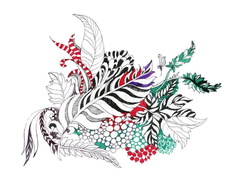 Piume, foglie e bacche isolate su fondo bianco illustrazione di stock