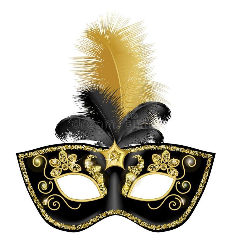 Piume nere dell'oro del withblack della maschera di carnevale dell'oro illustrazione vettoriale