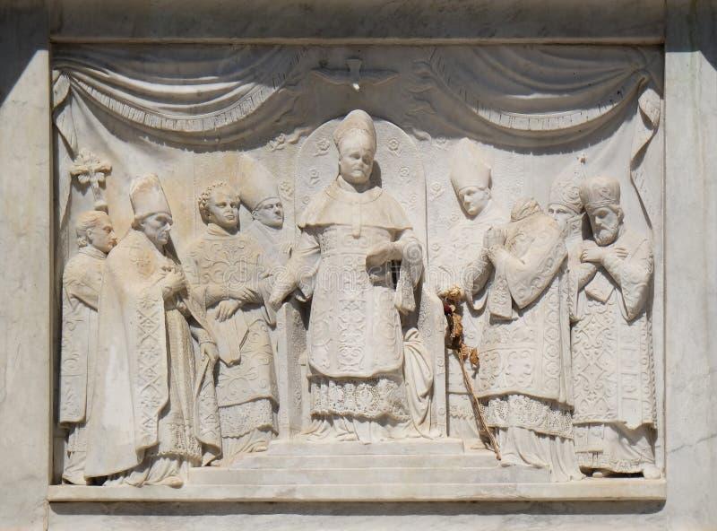 Pius IX die het Dogma van de Onbevlekte Ontvangenis afkondigen royalty-vrije stock afbeeldingen