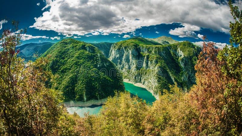 Piva河和湖峡谷看法在黑山 库存图片