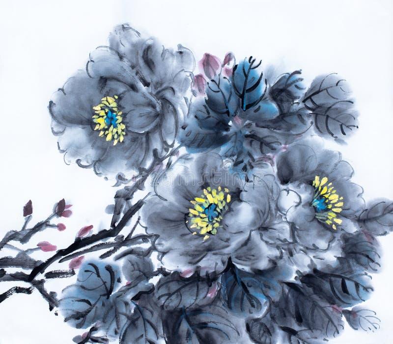Pivoine noire douce illustration stock