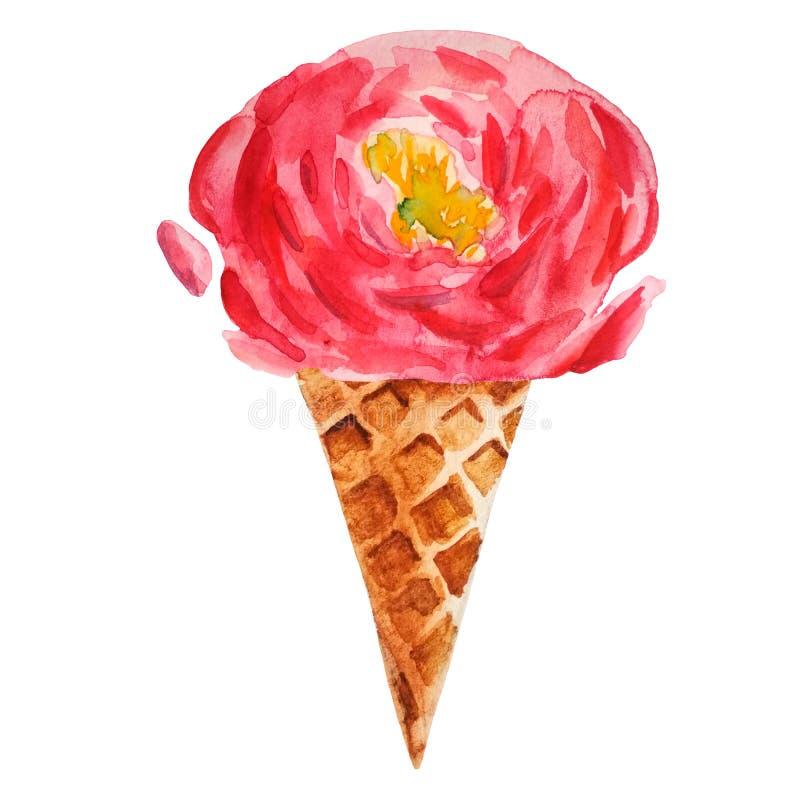 Pivoine rose tirée par la main d'aquarelle dans un cône de gaufre illustration de vecteur