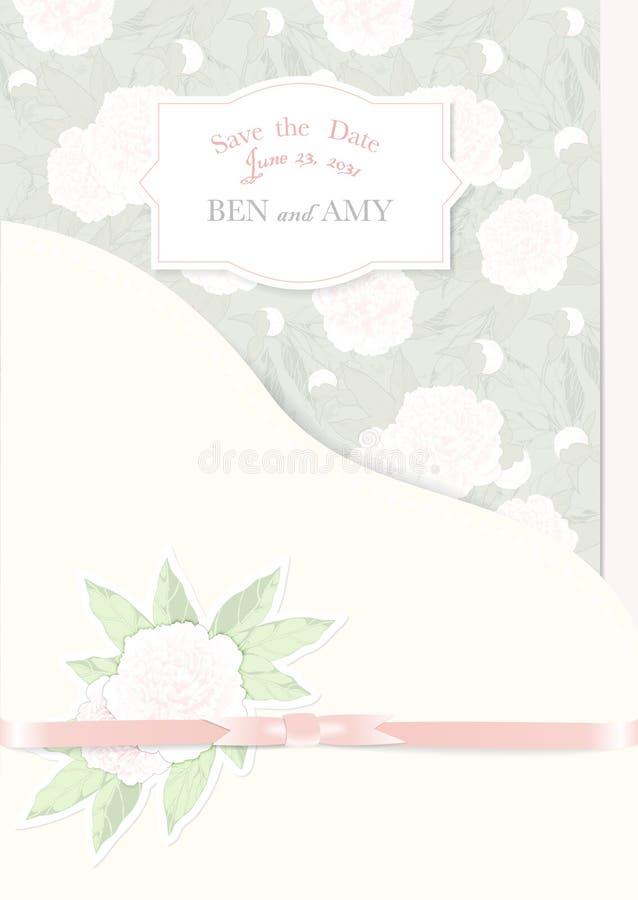 Pivoines de carte d'invitation de mariage sur le fond vert placez pour l'illustration de vecteur de conception illustration de vecteur