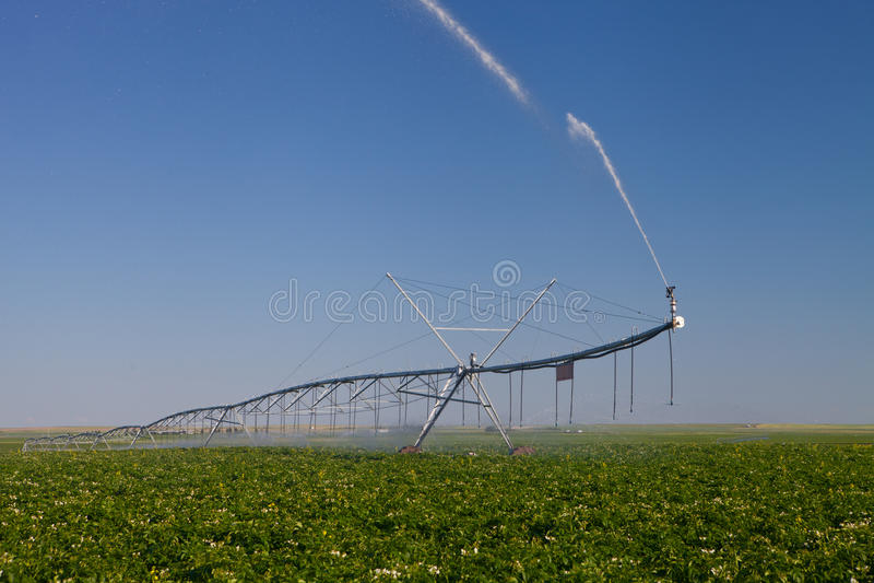 Pivot moderne d'irrigation images stock