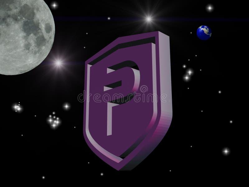 Pivx 3d logo i utrymme royaltyfri foto
