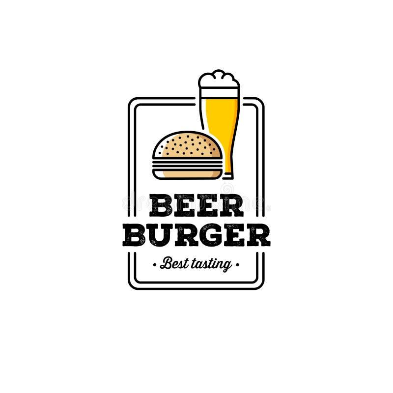 Piwa i hamburgeru Grunge biel również zwrócić corel ilustracji wektora ilustracja wektor