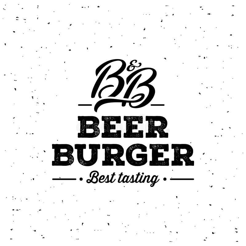 Piwa i hamburgeru Grunge biel również zwrócić corel ilustracji wektora ilustracji