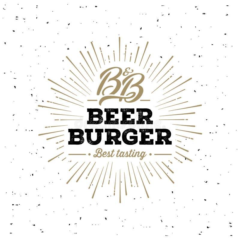 Piwa i hamburgeru Grunge Starburst biel również zwrócić corel ilustracji wektora ilustracji