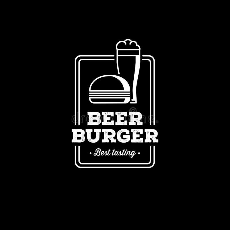 Piwa i hamburgeru konturu prostokąta czerń również zwrócić corel ilustracji wektora royalty ilustracja