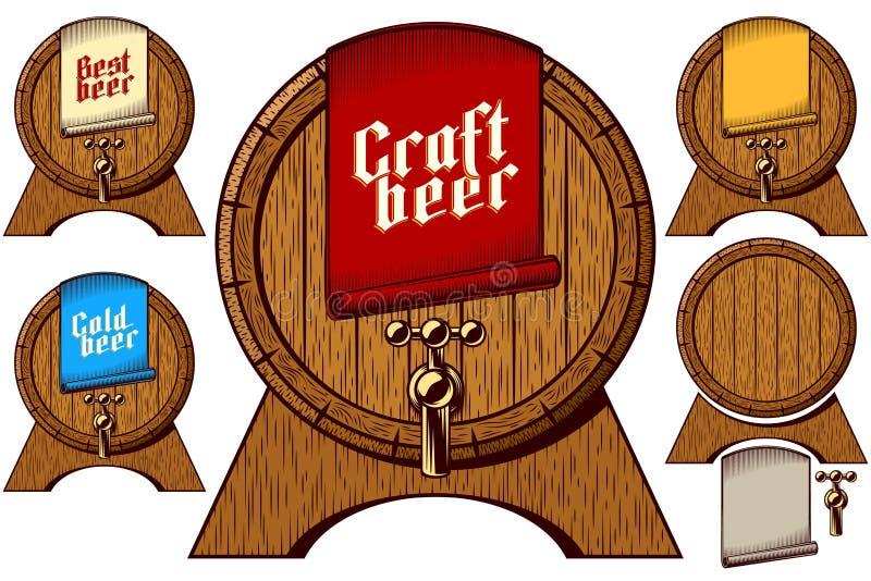 Piwa klepnięcia baryłki baryłki beczki Drewnianego rzemiosła Zimna Najlepszy etykietka ilustracja wektor