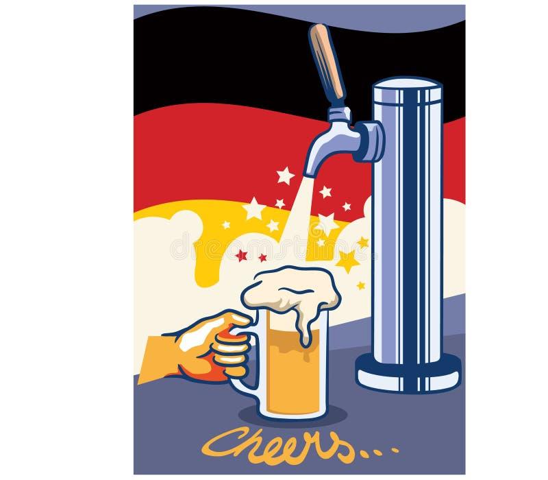 Piwa klepnięcie Z Niemcy flaga wystrzału sztuki plakatem ilustracji