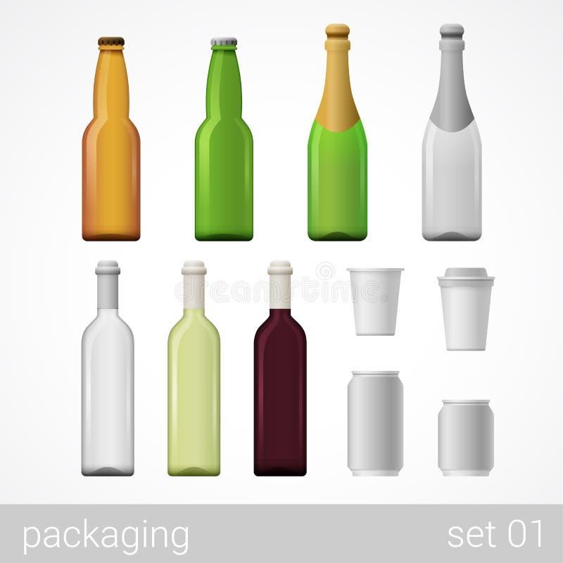 Piwa, wina, szampana, kawy i sody pakunku kartonowy set, royalty ilustracja