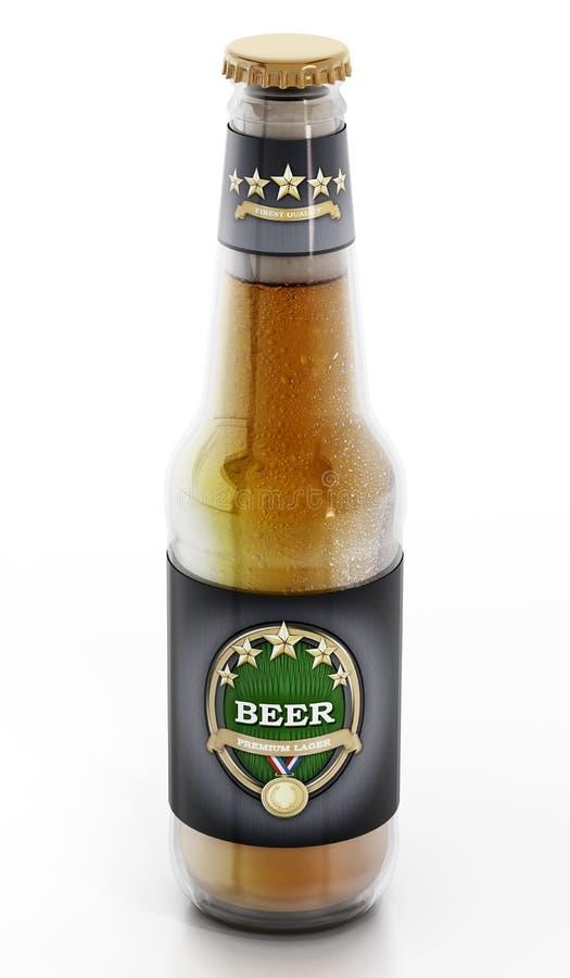 Piwna butelka na białym tle ilustracji