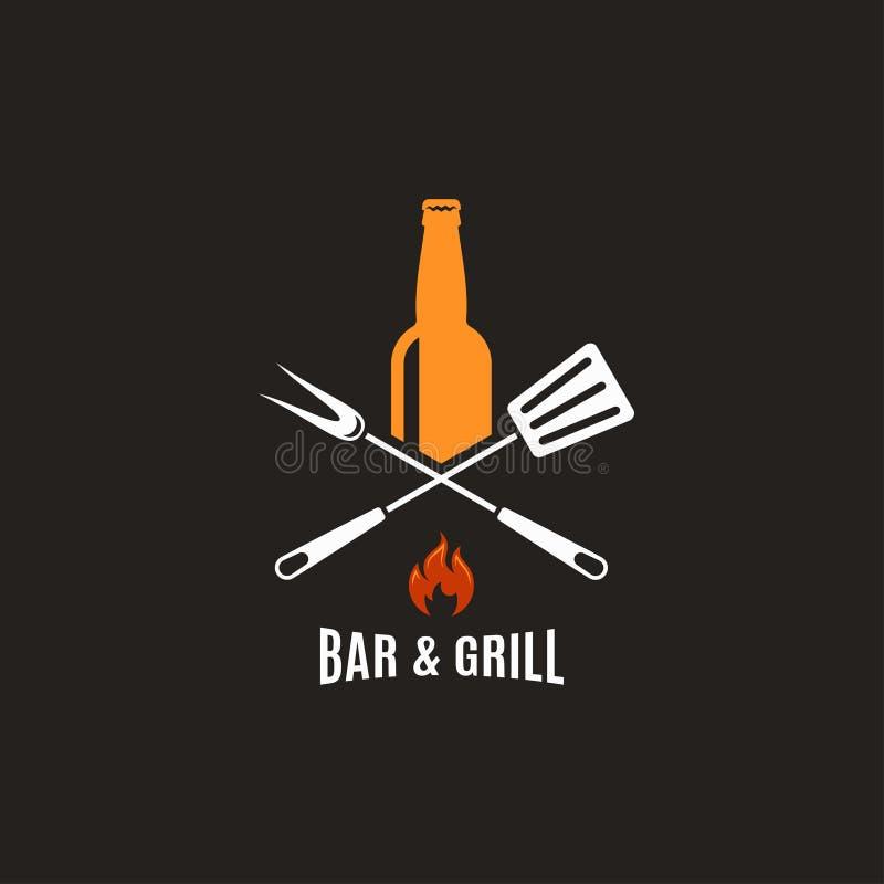 Piwna butelka z grillów narzędziami Prętowy i grill logo ilustracji