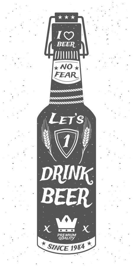 Piwna butelka z korkiem ilustracji