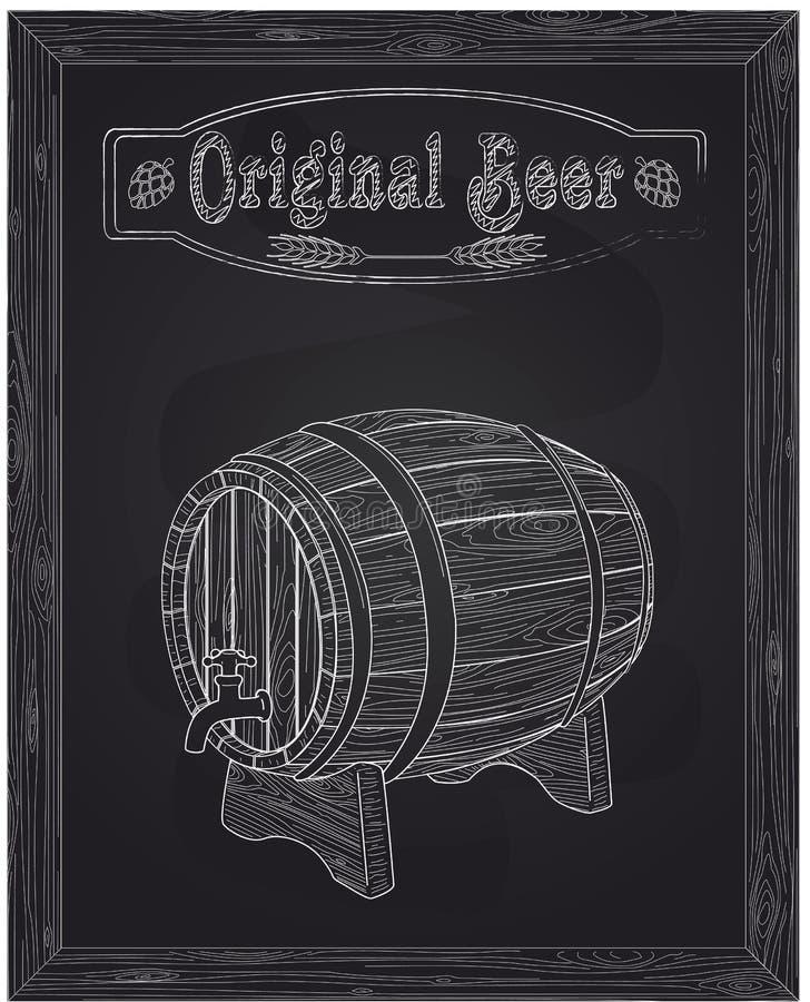 Piwna drewniana baryłka i klepnięcie royalty ilustracja