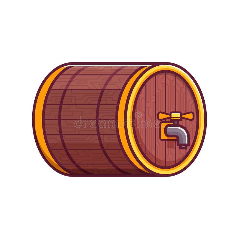 Piwna Drewniana baryłki lub baryłki ikona ilustracja wektor