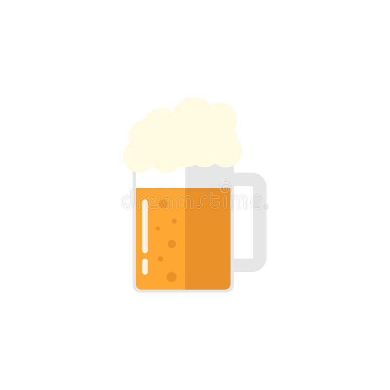 Piwna płaska ikona, karmowi napojów elementy ilustracji