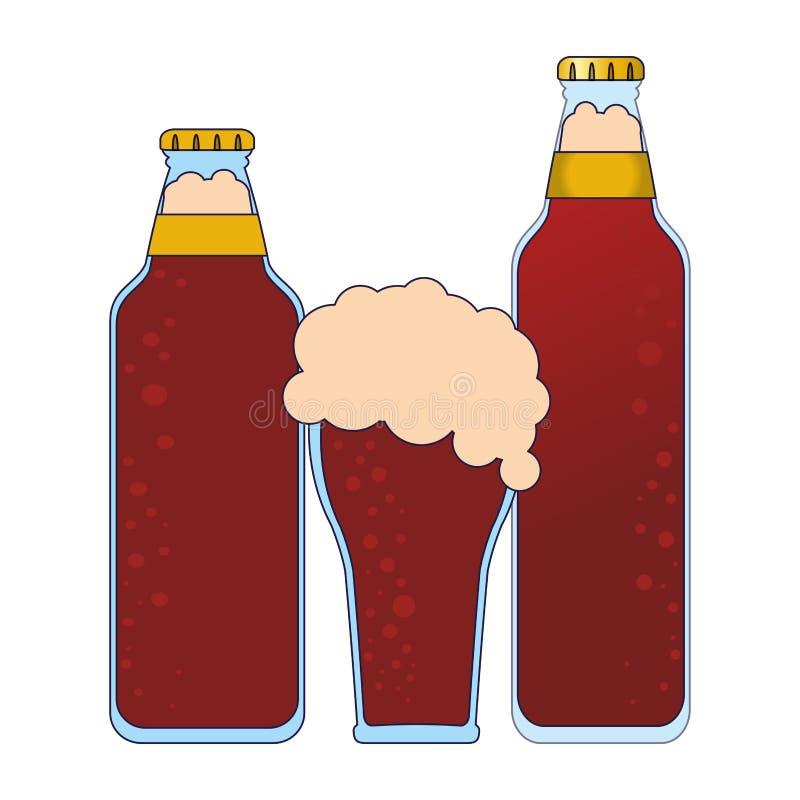 Piwne butelki i filiżanka ilustracja wektor