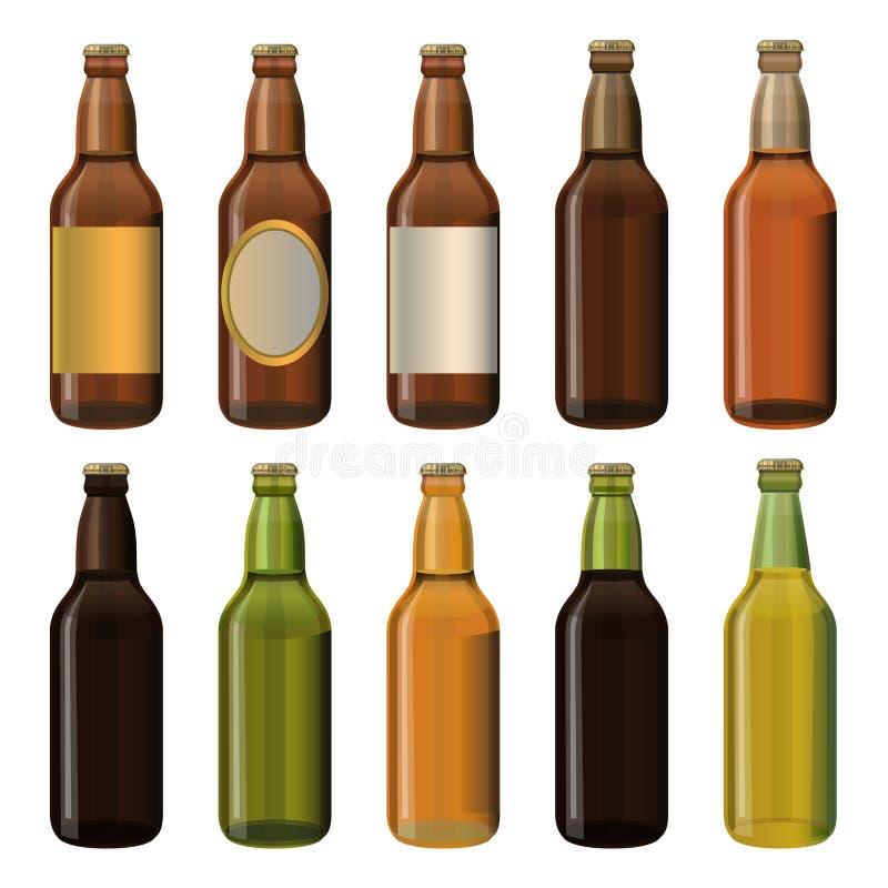 Piwne butelki Ustawiać ilustracja wektor