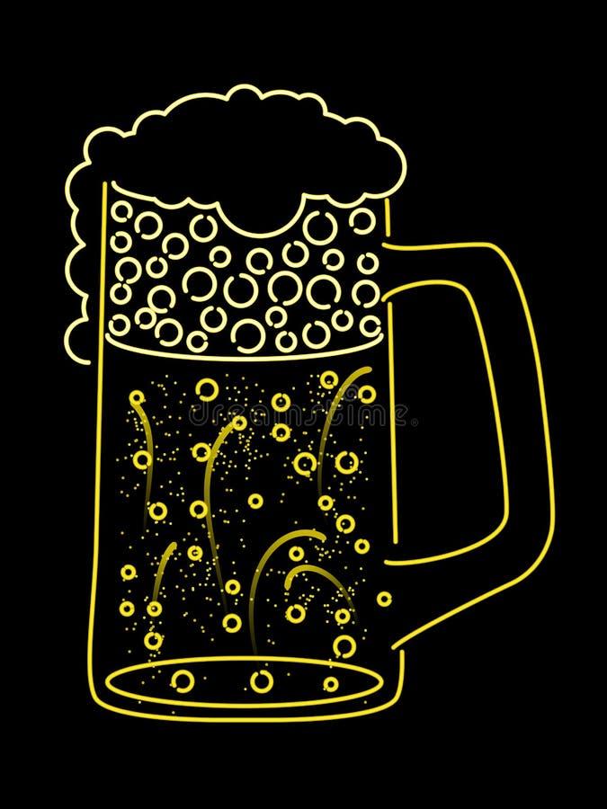 piwnego kubka neon ilustracja wektor
