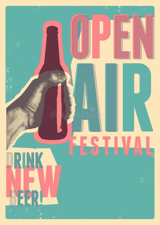 Piwnego na wolnym powietrzu festiwalu rocznika grunge sztuki typographical stylu plakatowy projekt retro ilustracyjny wektora ilustracja wektor