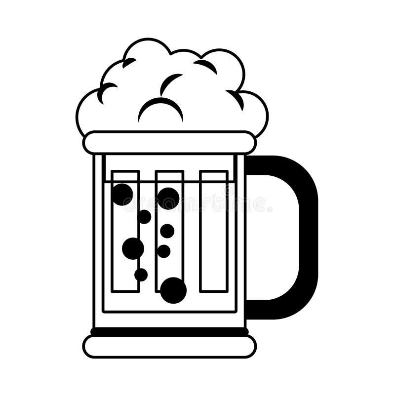 Piwnego szk?a fili?anki alkoholiczny nap?j odizolowywa? kresk?wk? w czarny i bia?y royalty ilustracja