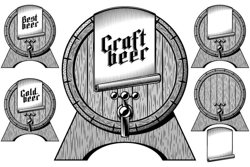 Piwnej baryłki baryłki beczki klepnięcia Drewnianego rzemiosła Chłodno Najlepszy etykietka ilustracja wektor