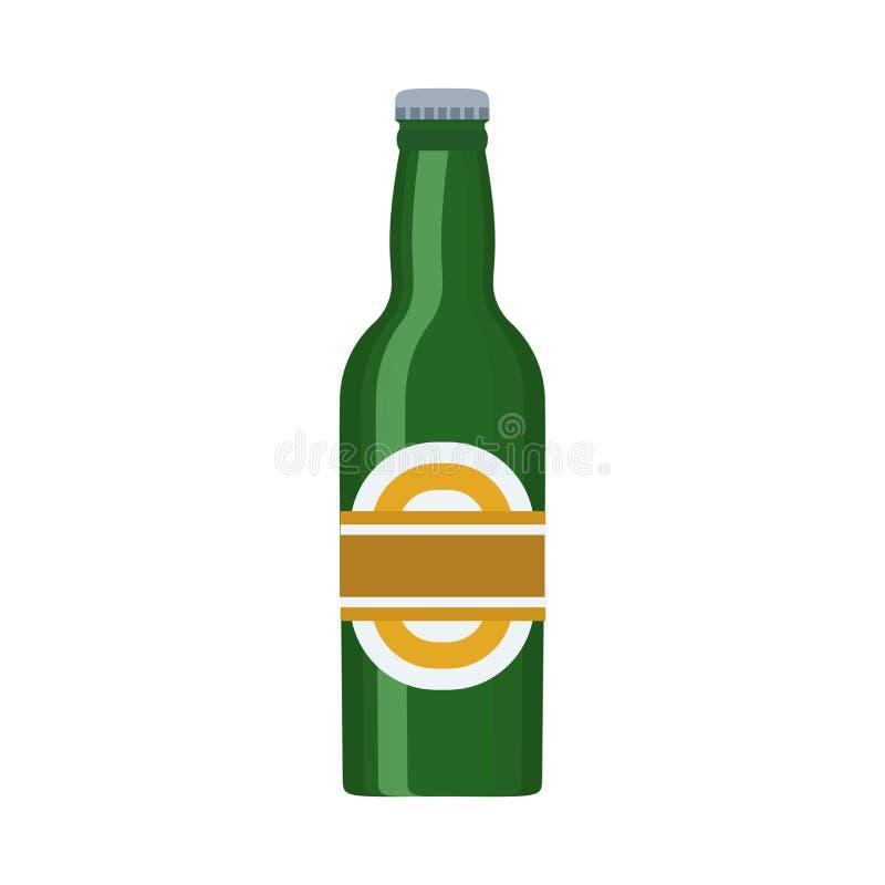 Piwnej butelki alkoholu baru wektoru ikona Napoju napoju kubka lager szklany browar Piankowego pubu przyjęcia kreskówki płaski pr ilustracja wektor