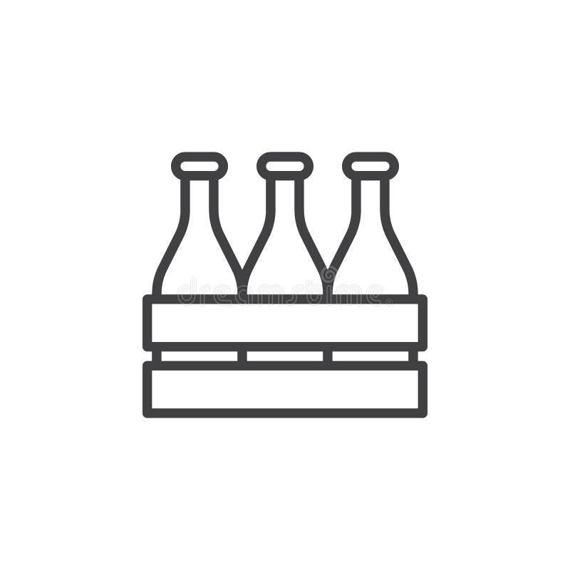 Piwnej butelki drewnianego pude?ka linii ikona ilustracji