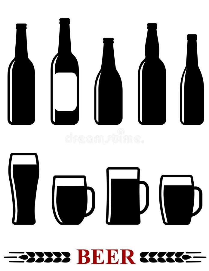 Download Piwnej Butelki I Kubka Ustalona Ikona Ilustracja Wektor - Ilustracja złożonej z napój, popijawa: 65225732