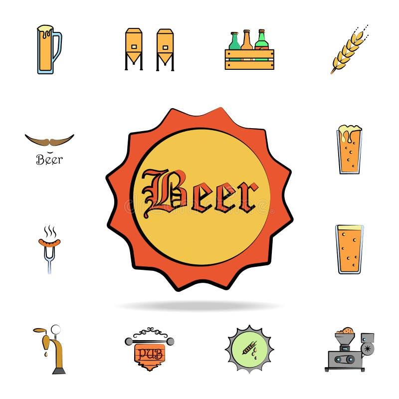 piwnej butelki nakreślenia stylu pokrywa barwiąca ikona Szczegółowy set koloru piwo w ręki rysować stylowych ikonach Premia grafi royalty ilustracja
