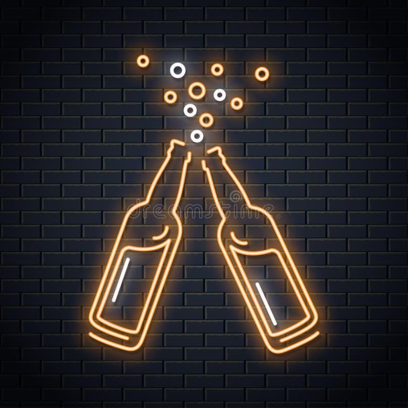 Piwnej butelki neonowy znak Piwnego pluśnięcia neonowy projekt ilustracja wektor