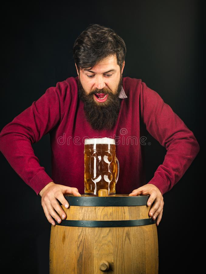 Piwni typy i style Piwo w Niemcy Portret kosztuje szkicu piwo przystojny m?ody cz?owiek Niemcy - Bavaria zdjęcie royalty free