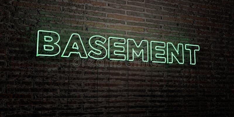 PIWNICA - Realistyczny Neonowy znak na ściana z cegieł tle - 3D odpłacający się królewskość bezpłatny akcyjny wizerunek ilustracja wektor